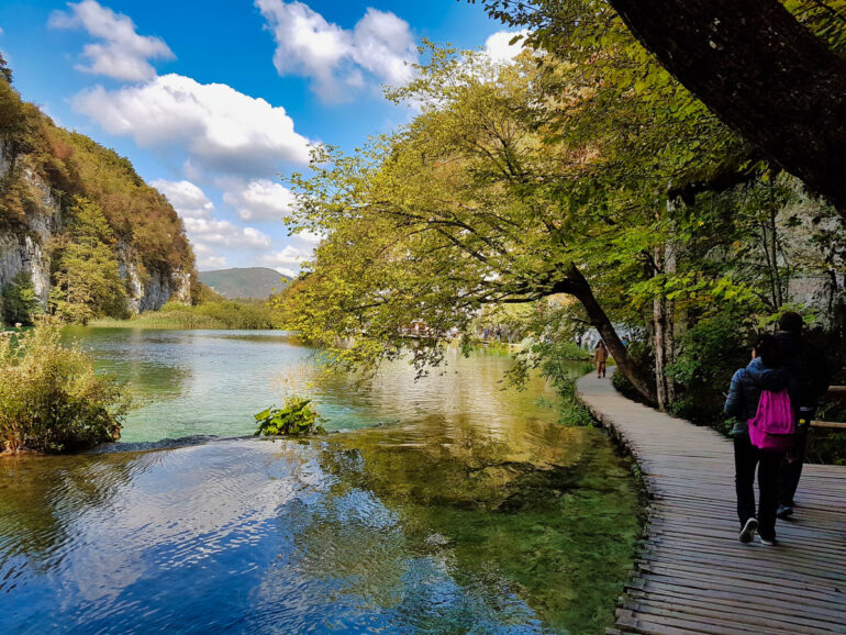 Boardwalks next to beautiful lakes in Plitvice National Park