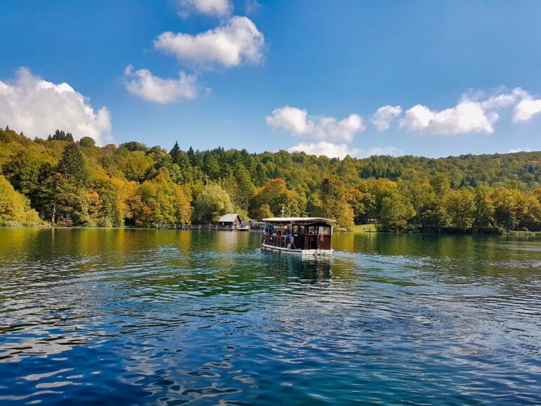Boat to cross the lake Kozjak