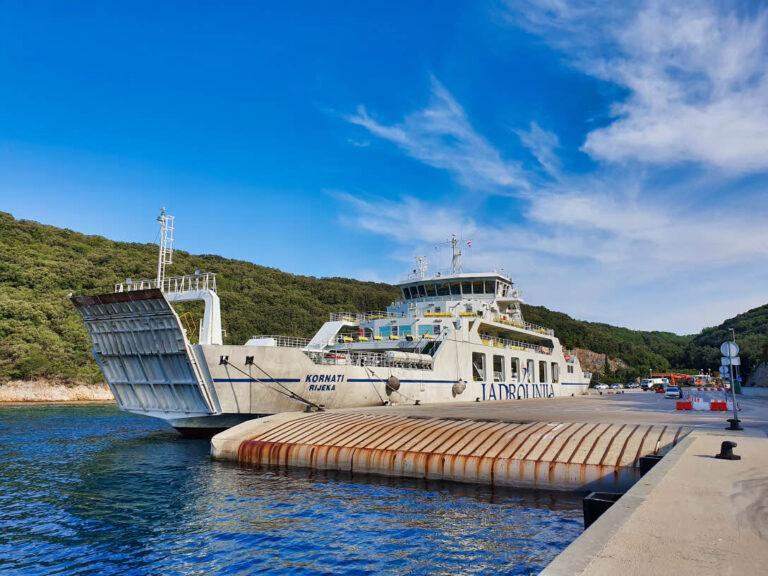 Jadrolinija ferry standing in ferry port Valbiska