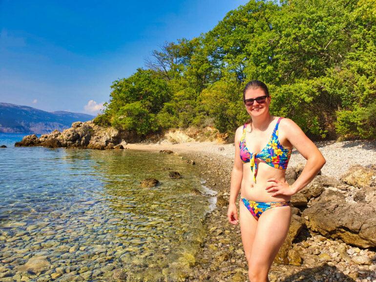 Elke standing on the beach