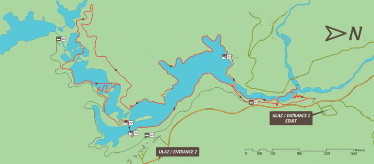 Map of hiking tour K in Plitvice Lakes National Park