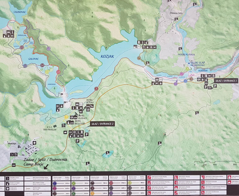 Map of the different hiking sections in Plitvice Lakes