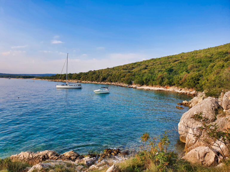 View on the shoreline and beaches close to Punat beach