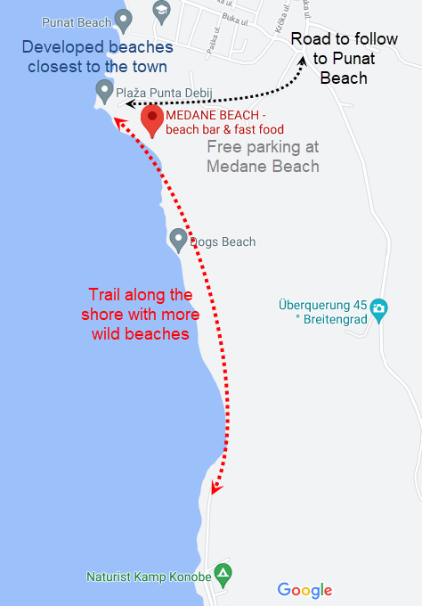 Map of the Punat beach area