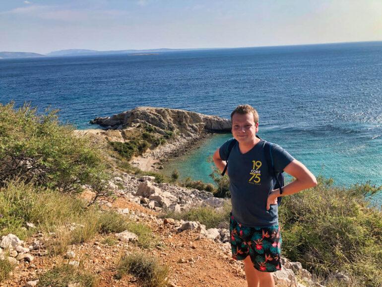 Steven at the beach and sea close to Zaglav Beach
