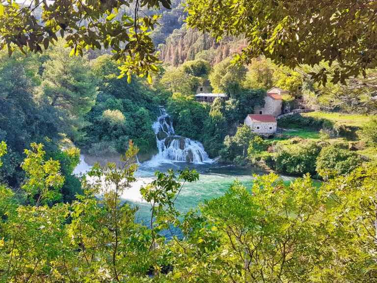 View on waterfalls of Krka from viewpoint of our hike