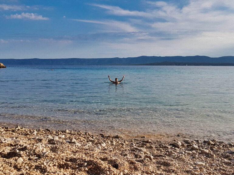 Steven swimming at Beach Bijela Kuća