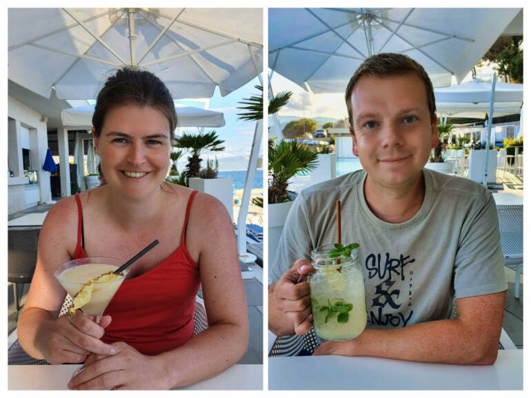 Drinking cocktails at Sundande Beach Bar at Rabac
