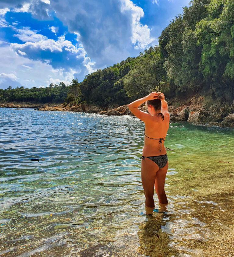 Elke on the Duga Luka beach
