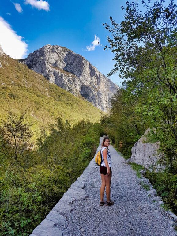 Elke on hiking trail in Velika Paklenica Canyon in Croatia