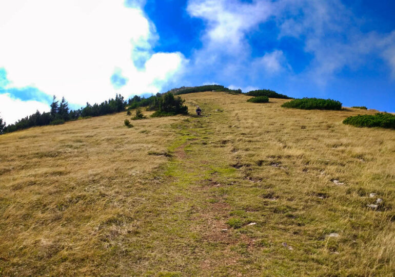 Hiking up a hill in Northern Velebit National Park
