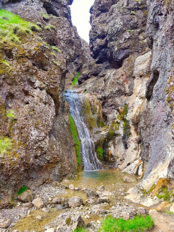 Jenifer's Waterfall at the Klambragil Canyon
