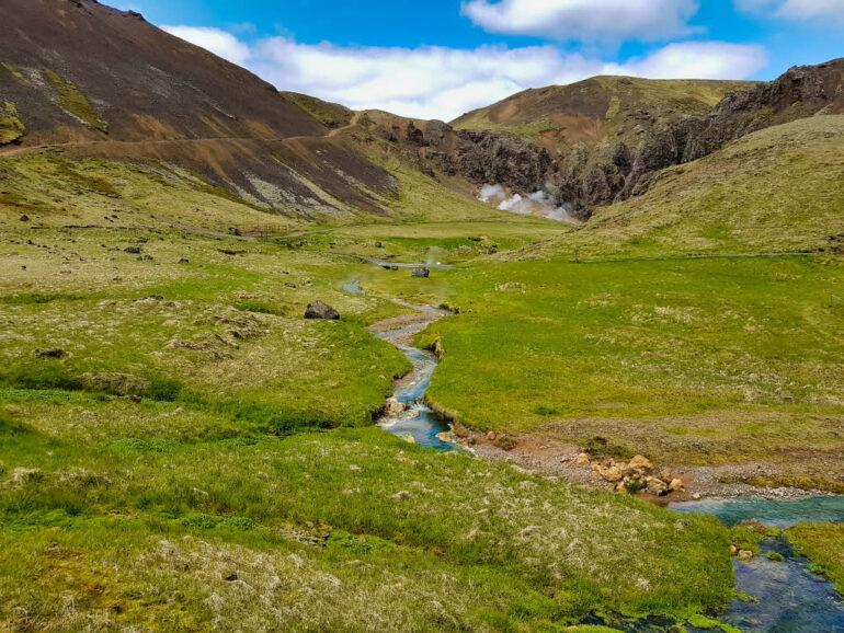 Klambragil Canyon behind the Hot Springs