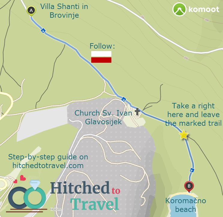 Koromačno beach hiking trail
