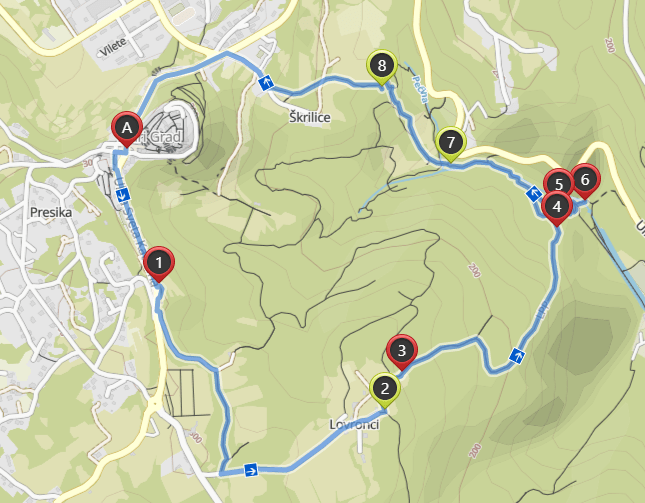 Map of Sentona's hiking trail from Labin to Rabac