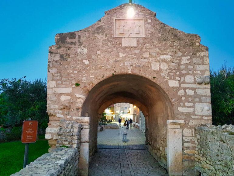 The historic town gate (Donja gradska vrata) of the town Nin in Croatia