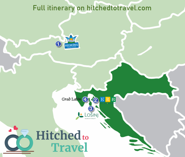 Map of our honeymoon to Austria and Croatia