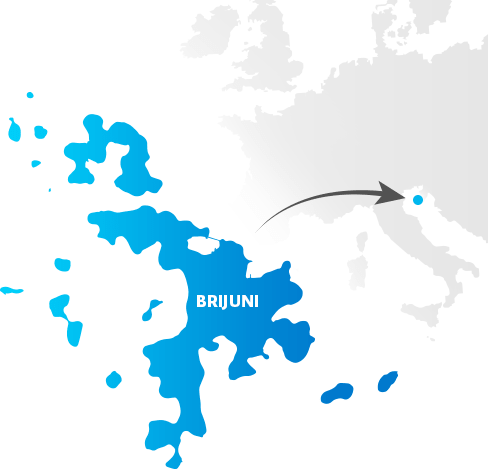 Map with location of National Park Brijuni