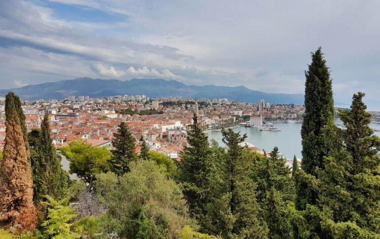 View on the city Split from the viewpoint Prva Marjanska Vidilica on Marjan Hill
