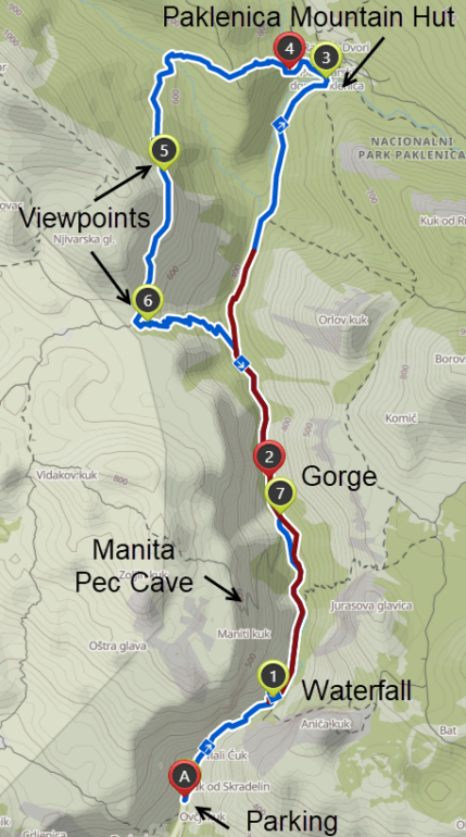 Map of our hike in Paklenica National Park