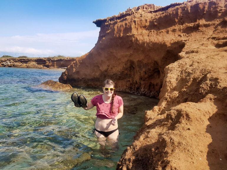 Wading through the sea at Vir to reach Rastavac Beach