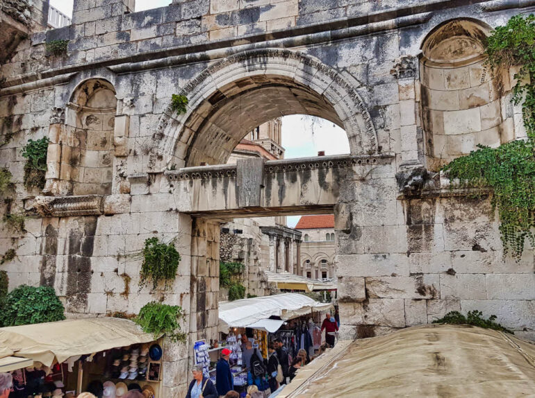 The walls of the Diocletian's Palace in Split Croatia