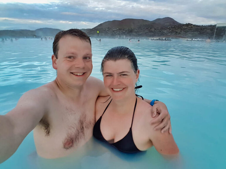 Steven and Elke in the Blue Lagoon in Iceland