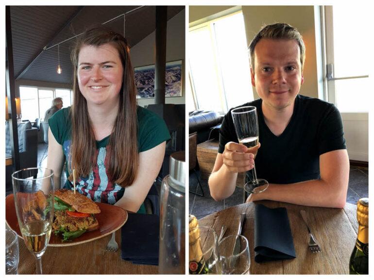 Steven and Elke in the restaurant