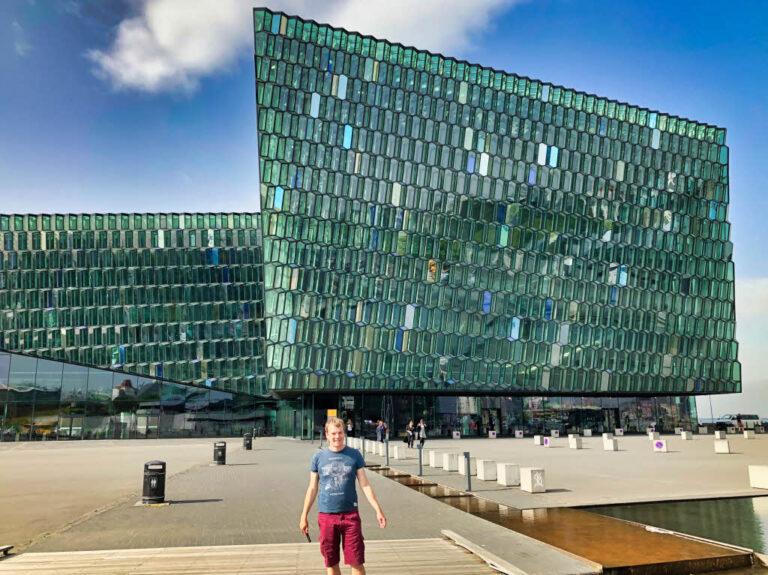 Steven at the Harpa Concert hall in Reykjavik