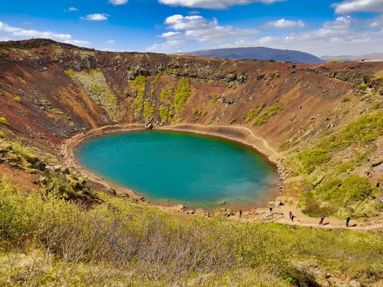 Kerið Crater, a volcanic lake in Iceland