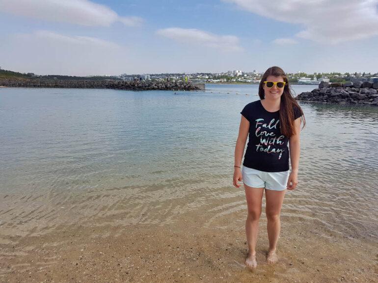 Elke at Nauthólsvík Geothermal Beach