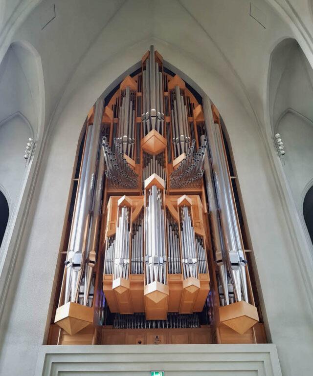 The organ of Hallgrímskirkja Church in Reykjavík
