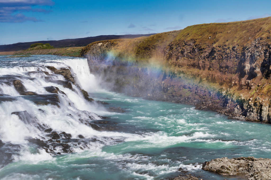 Gullfoss waterfall and rainbow, photo from the upper viewpoint