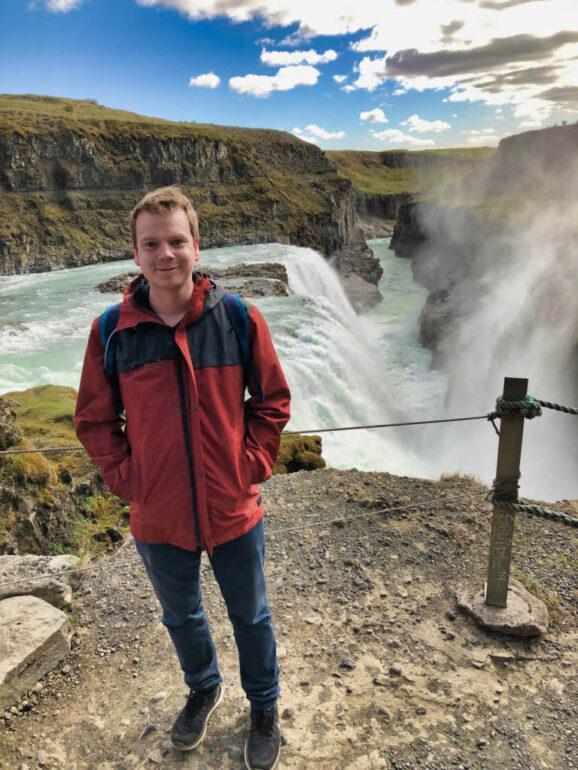 Steven at the waterfall Gullfoss
