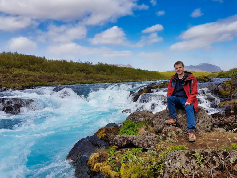 Steven at Midfoss waterfall in Iceland