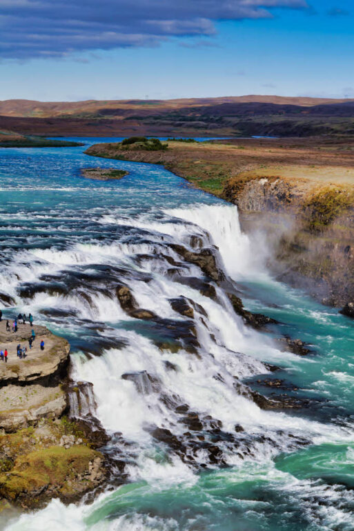 First and second drop of the Gullfoss waterfall in Iceland