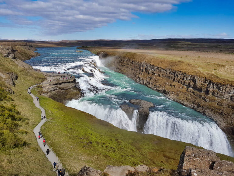 Gullfoss waterfall on the Golden Circle in Iceland